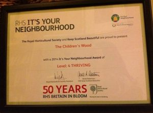 The Children's Wood has reached Level 4 on the It's Your Neighbourhood Awards 2014.